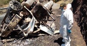 Camión cisterna se incendió en Chachaguí