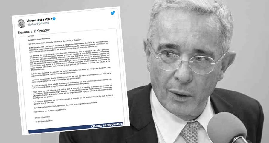 Uribe presenta renuncia al Senado